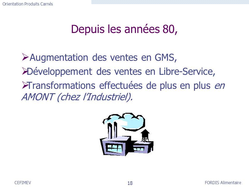FORDIS Alimentaire Orientation Produits Carnés 18 CEFIMEV Augmentation des ventes en GMS, Développement des ventes en Libre-Service, Transformations e