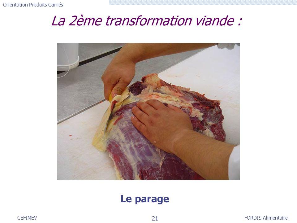 FORDIS Alimentaire Orientation Produits Carnés 21 CEFIMEV La 2ème transformation viande : Le parage