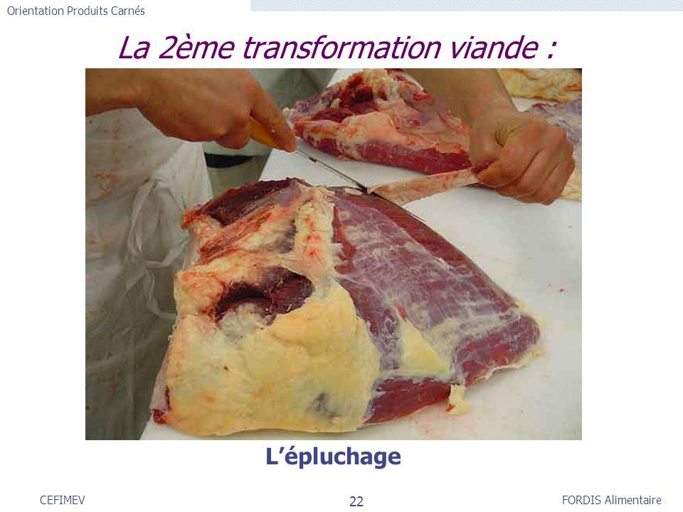FORDIS Alimentaire Orientation Produits Carnés 22 CEFIMEV La 2ème transformation viande : Lépluchage