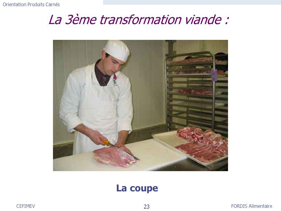 FORDIS Alimentaire Orientation Produits Carnés 23 CEFIMEV La 3ème transformation viande : La coupe