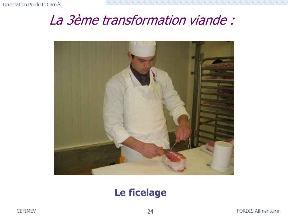 FORDIS Alimentaire Orientation Produits Carnés 24 CEFIMEV La 3ème transformation viande : Le ficelage
