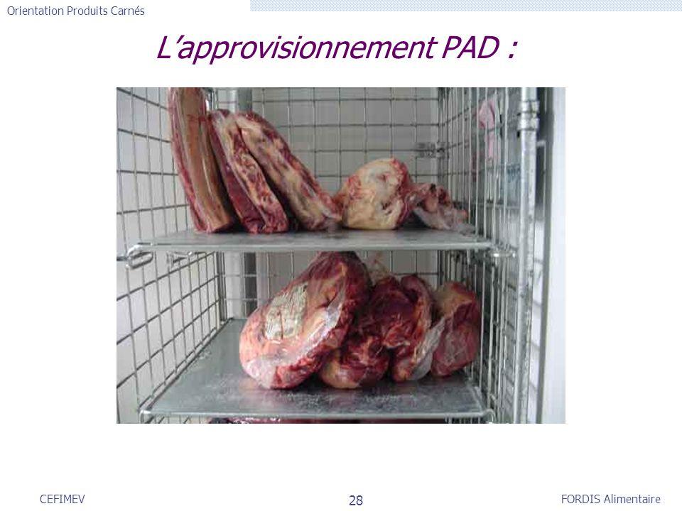 FORDIS Alimentaire Orientation Produits Carnés 28 CEFIMEV Lapprovisionnement PAD :