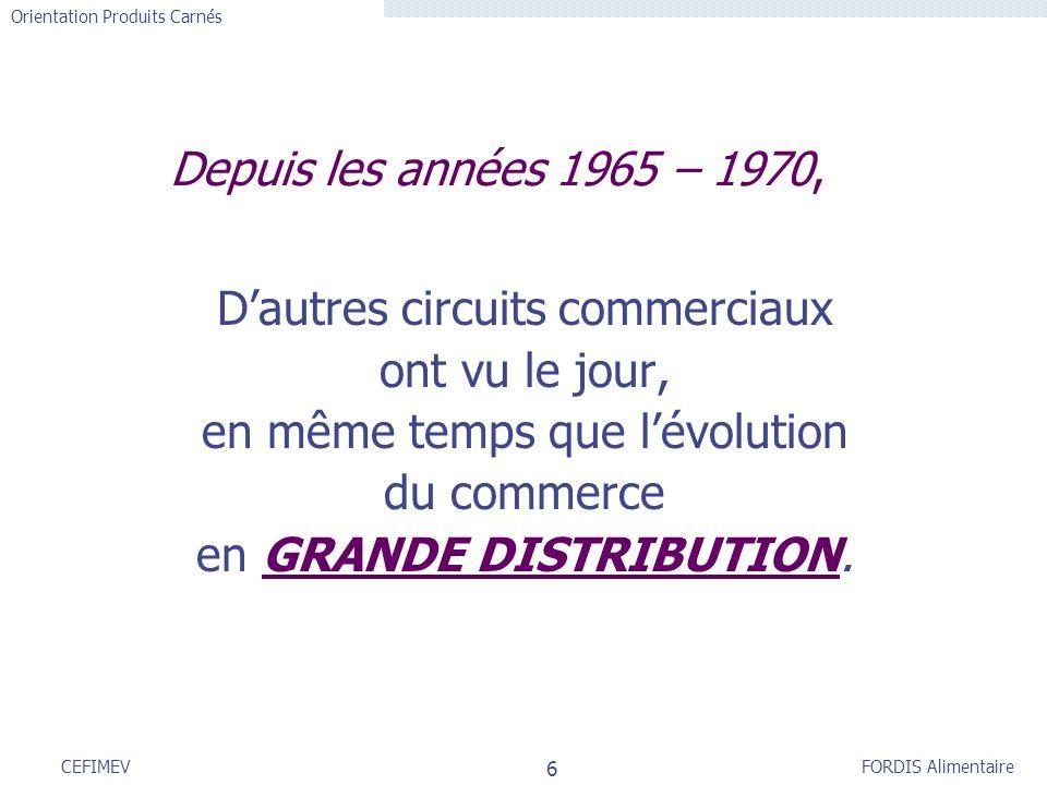 FORDIS Alimentaire Orientation Produits Carnés 6 CEFIMEV Depuis les années 1965 – 1970, Dautres circuits commerciaux ont vu le jour, en même temps que