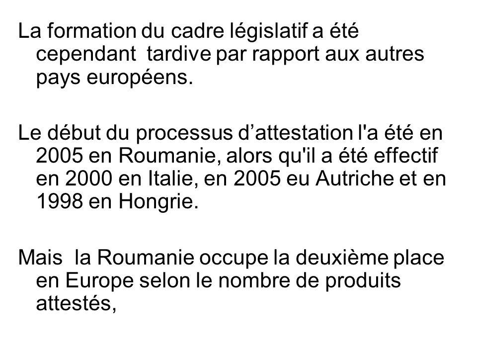 La formation du cadre législatif a été cependant tardive par rapport aux autres pays européens. Le début du processus dattestation l'a été en 2005 en