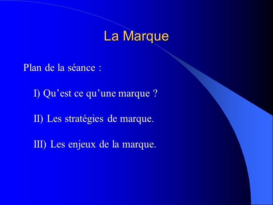 La Marque Plan de la séance : I) Quest ce quune marque ? II) Les stratégies de marque. III) Les enjeux de la marque.