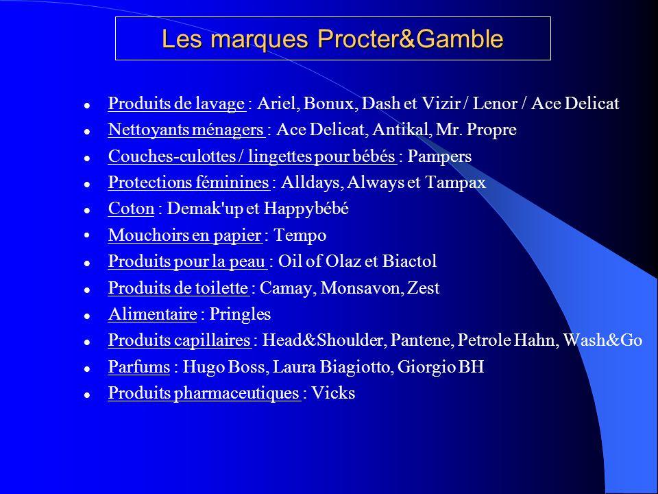 Les marques Procter&Gamble Produits de lavage : Ariel, Bonux, Dash et Vizir / Lenor / Ace Delicat Nettoyants ménagers : Ace Delicat, Antikal, Mr. Prop