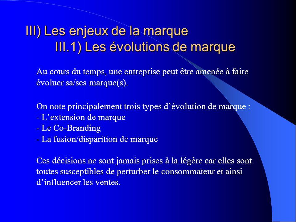 III) Les enjeux de la marque III.1) Les évolutions de marque Au cours du temps, une entreprise peut être amenée à faire évoluer sa/ses marque(s). On n