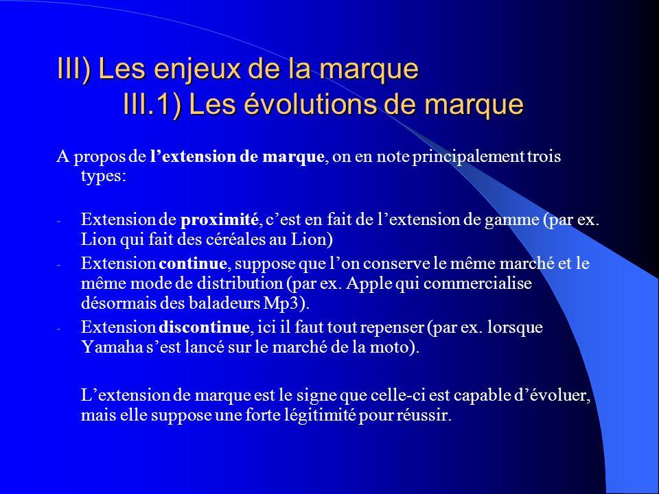III) Les enjeux de la marque III.1) Les évolutions de marque A propos de lextension de marque, on en note principalement trois types: - Extension de p