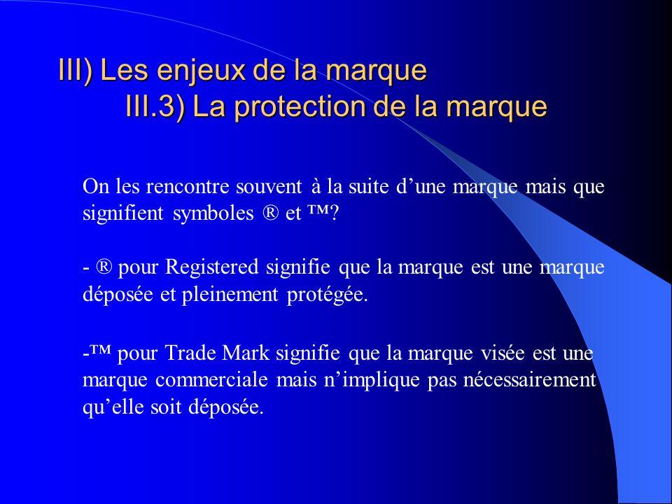 III) Les enjeux de la marque III.3) La protection de la marque On les rencontre souvent à la suite dune marque mais que signifient symboles ® et ? - ®