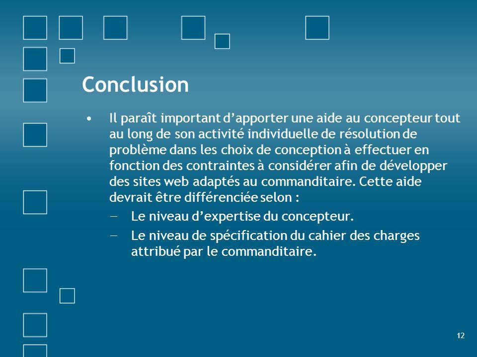 12 Conclusion Il paraît important dapporter une aide au concepteur tout au long de son activité individuelle de résolution de problème dans les choix