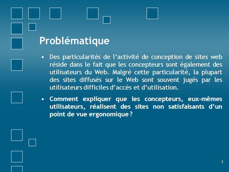 3 Problématique Des particularités de lactivité de conception de sites web réside dans le fait que les concepteurs sont également des utilisateurs du