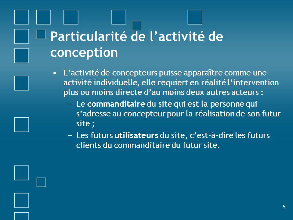 5 Particularité de lactivité de conception Lactivité de concepteurs puisse apparaître comme une activité individuelle, elle requiert en réalité linter