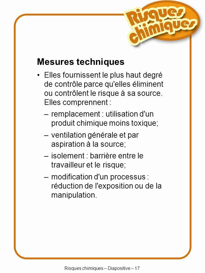 Risques chimiques – Diapositive – 18 Ventilation Ventilation générale Ventilation par aspiration à la source