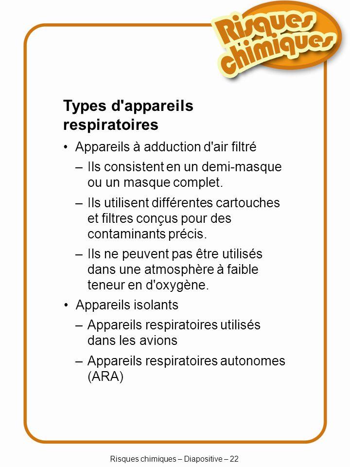 Système dinformation sur les matières dangereuses utilisées au travail (SIMDUT) Étiquettes Fiches signalétiques Formation du travailleur Risques chimiques – Diapositive – 23