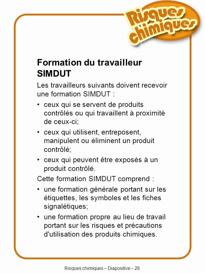 Risques chimiques – Diapositive – 29 Produits destinés aux consommateurs – Symboles de danger explosif inflammable toxique corrosif