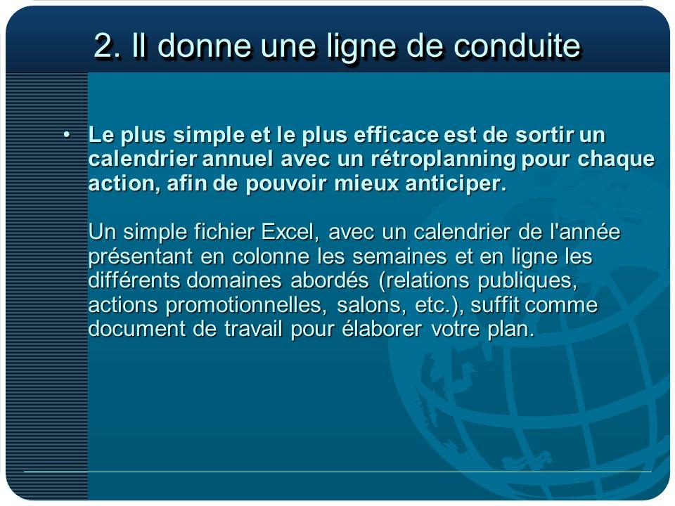 2. Il donne une ligne de conduite Le plus simple et le plus efficace est de sortir un calendrier annuel avec un rétroplanning pour chaque action, afin