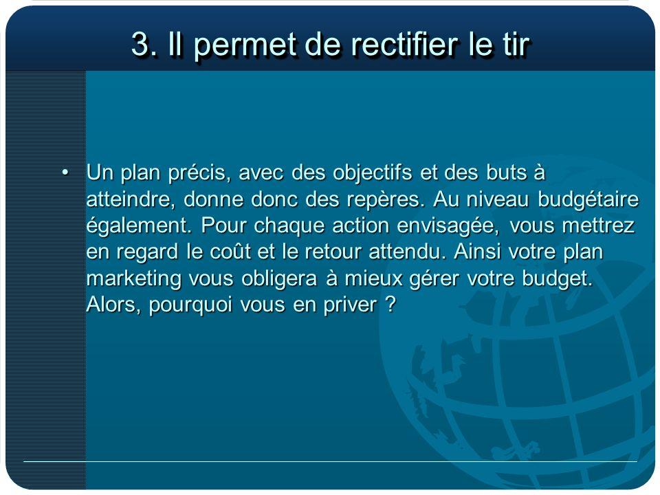 3. Il permet de rectifier le tir Un plan précis, avec des objectifs et des buts à atteindre, donne donc des repères. Au niveau budgétaire également. P