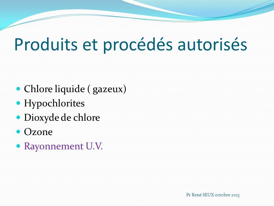 Produits et procédés autorisés Chlore liquide ( gazeux) Hypochlorites Dioxyde de chlore Ozone Rayonnement U.V. Pr René SEUX octobre 2013
