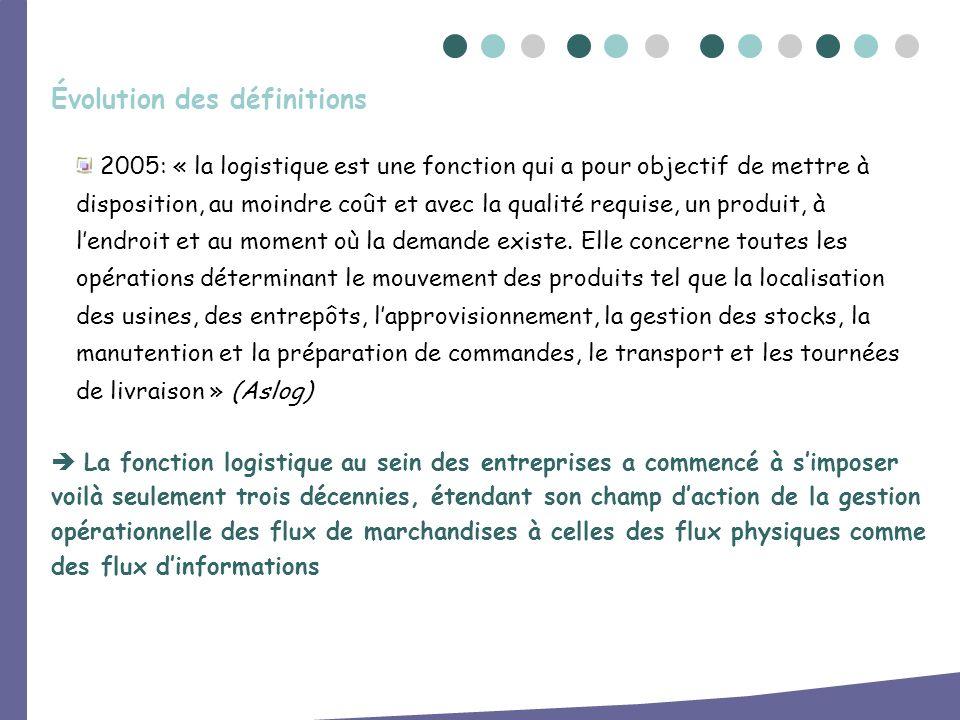 2005: « la logistique est une fonction qui a pour objectif de mettre à disposition, au moindre coût et avec la qualité requise, un produit, à lendroit