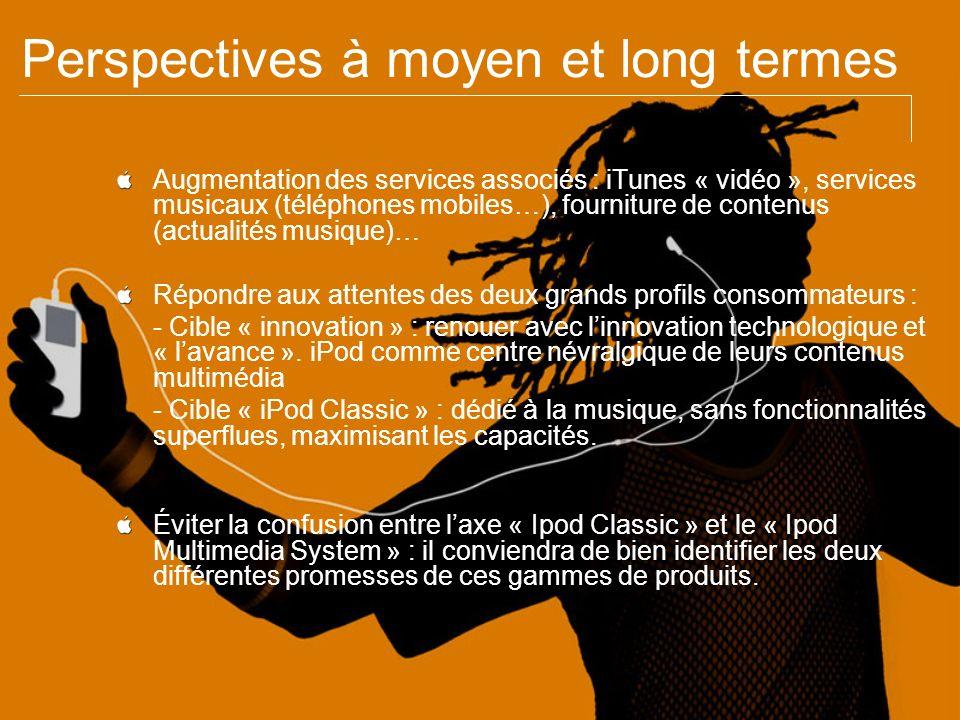 Perspectives à moyen et long termes Augmentation des services associés : iTunes « vidéo », services musicaux (téléphones mobiles…), fourniture de cont