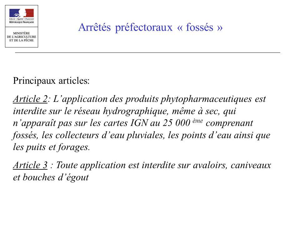 Principaux articles: Article 2: Lapplication des produits phytopharmaceutiques est interdite sur le réseau hydrographique, même à sec, qui napparaît p