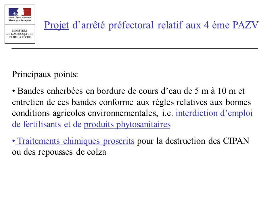 Projet darrêté préfectoral relatif aux 4 ème PAZV Principaux points: Bandes enherbées en bordure de cours deau de 5 m à 10 m et entretien de ces bande
