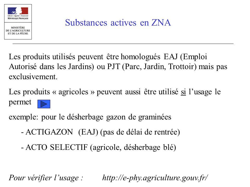 Substances actives en ZNA Les produits utilisés peuvent être homologués EAJ (Emploi Autorisé dans les Jardins) ou PJT (Parc, Jardin, Trottoir) mais pa