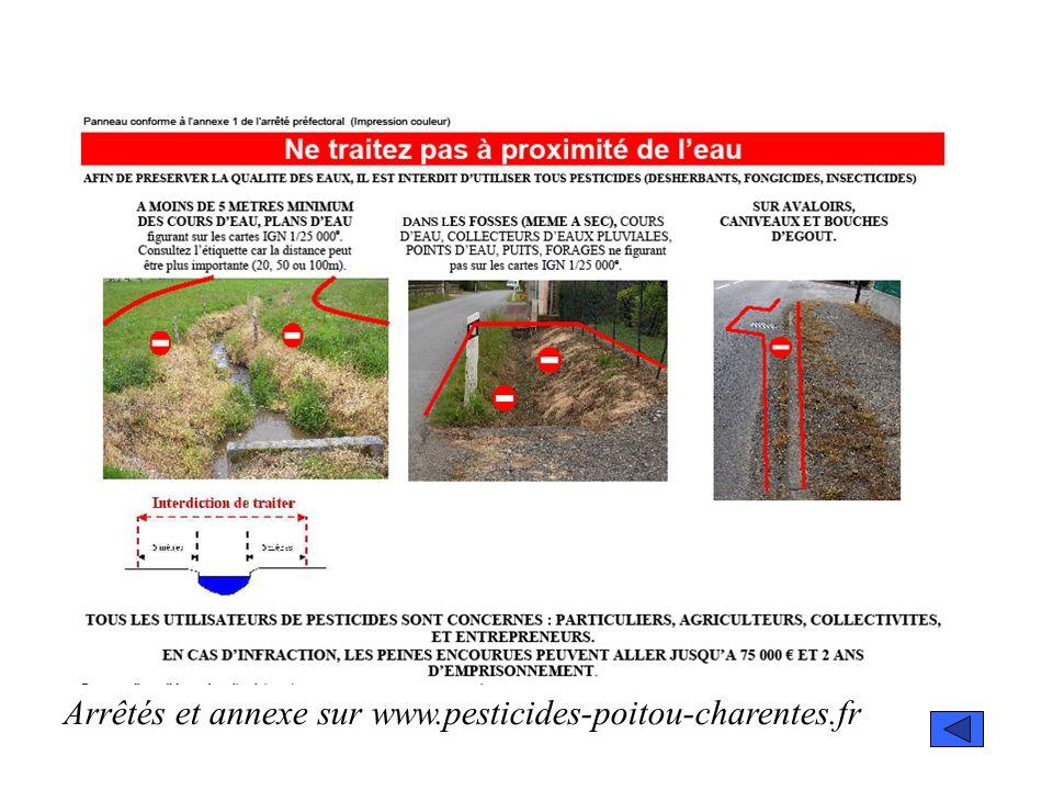 Arrêtés et annexe sur www.pesticides-poitou-charentes.fr