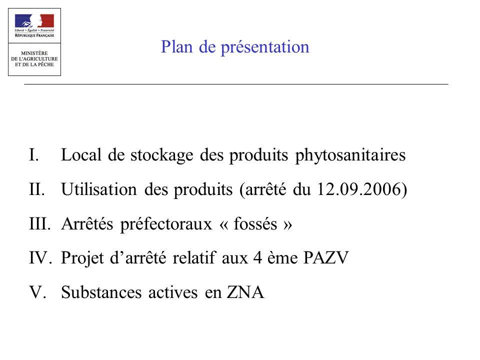 I.Local de stockage des produits phytosanitaires II.Utilisation des produits (arrêté du 12.09.2006) III.Arrêtés préfectoraux « fossés » IV.Projet darr