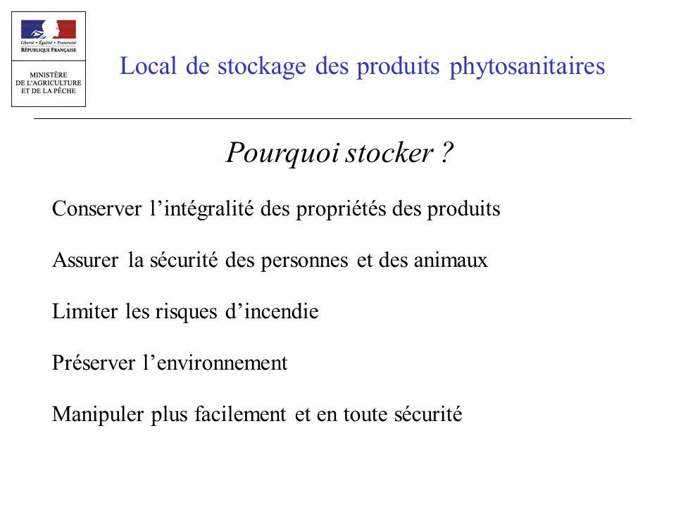 Local de stockage des produits phytosanitaires Pourquoi stocker ? Conserver lintégralité des propriétés des produits Assurer la sécurité des personnes