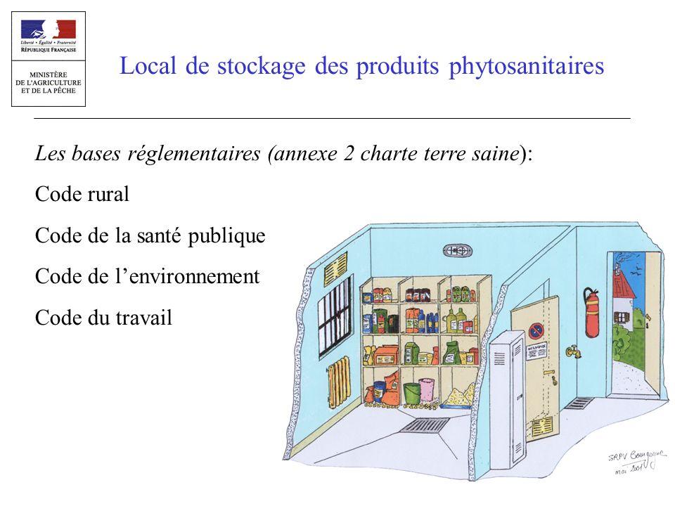 Local de stockage des produits phytosanitaires Les bases réglementaires (annexe 2 charte terre saine): Code rural Code de la santé publique Code de le
