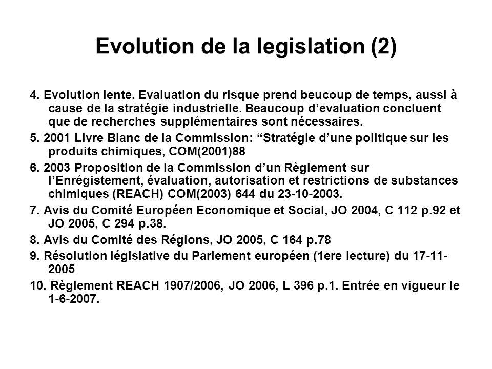 REACH - Evaluation 1.Proposition Commission: lévaluation sera effectuée par les Etats membres sur base des informations fournies par lenrégistrant 2.Règlement 1907/2006: ECHA évalue le dossier et si dautres tests sont nécessaires (Art.40).