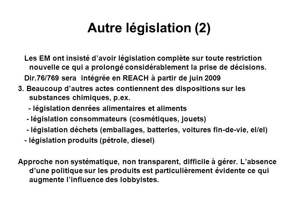 Autre législation (3) 4.