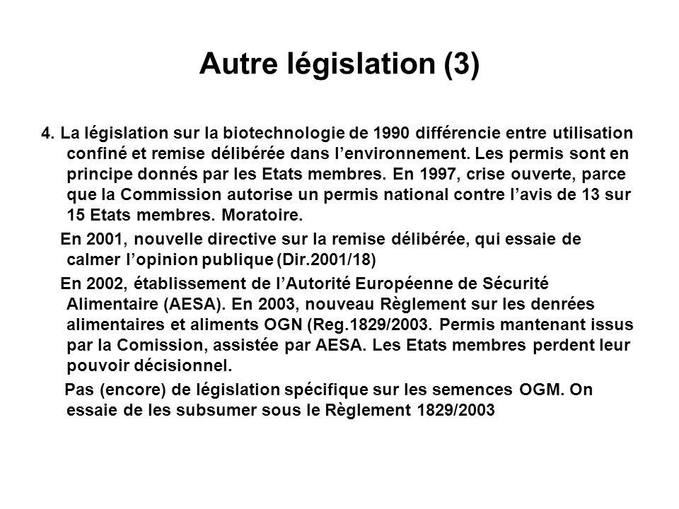 Autre législation (4) 5.
