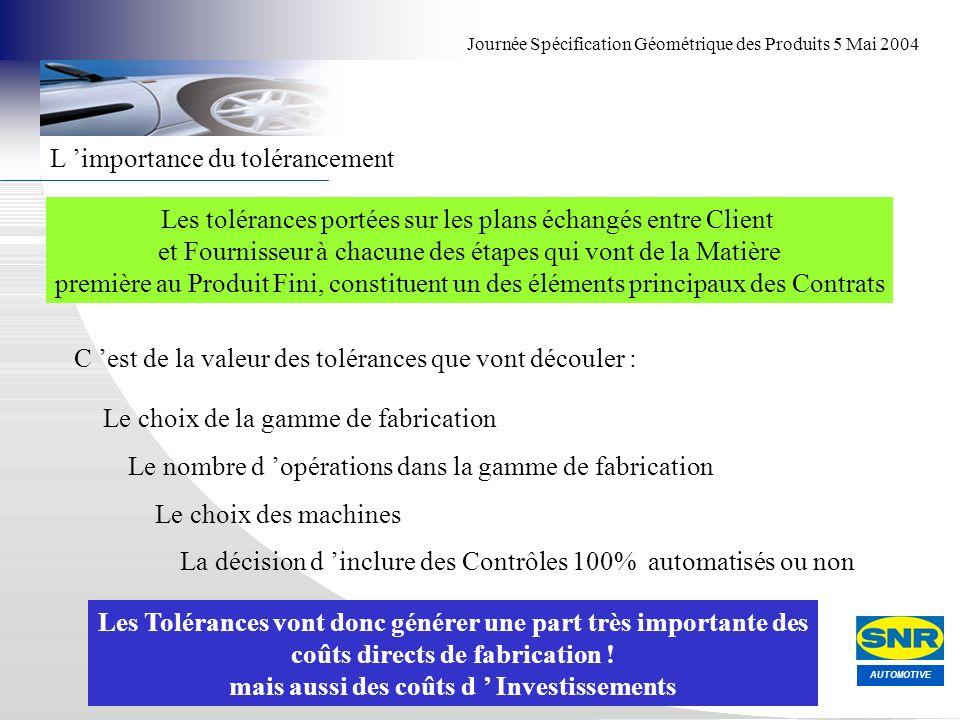 AUTOMOTIVE Journée Spécification Géométrique des Produits 5 Mai 2004 L importance du tolérancement Les tolérances portées sur les plans échangés entre