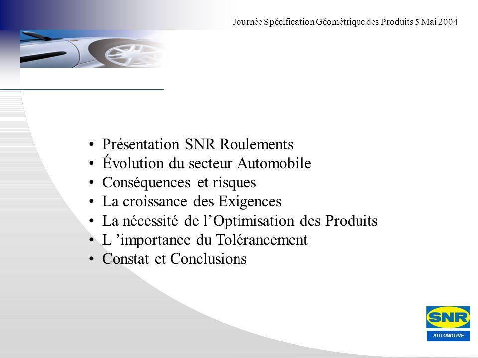 AUTOMOTIVE Journée Spécification Géométrique des Produits 5 Mai 2004 Présentation SNR Roulements Évolution du secteur Automobile Conséquences et risqu