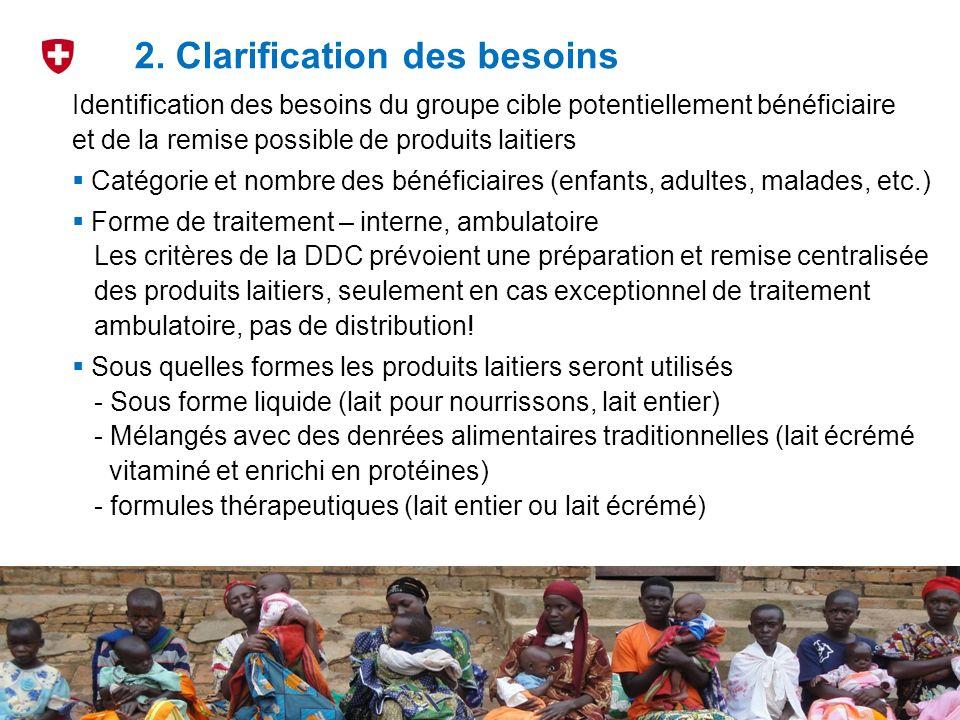 3 2. Clarification des besoins Identification des besoins du groupe cible potentiellement bénéficiaire et de la remise possible de produits laitiers C