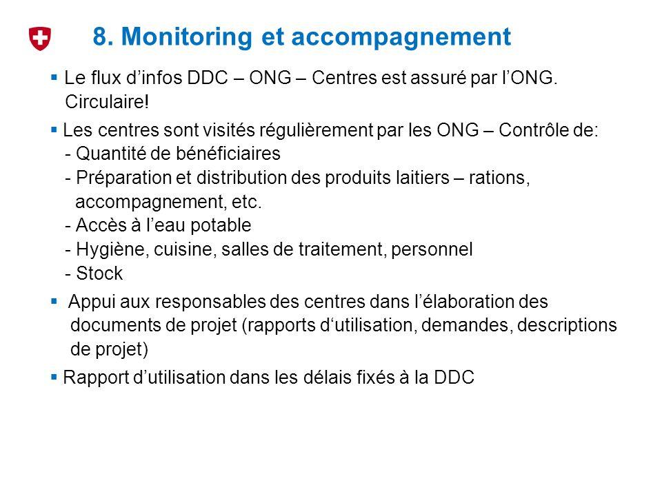 Le flux dinfos DDC – ONG – Centres est assuré par lONG. Circulaire! Les centres sont visités régulièrement par les ONG – Contrôle de: - Quantité de bé