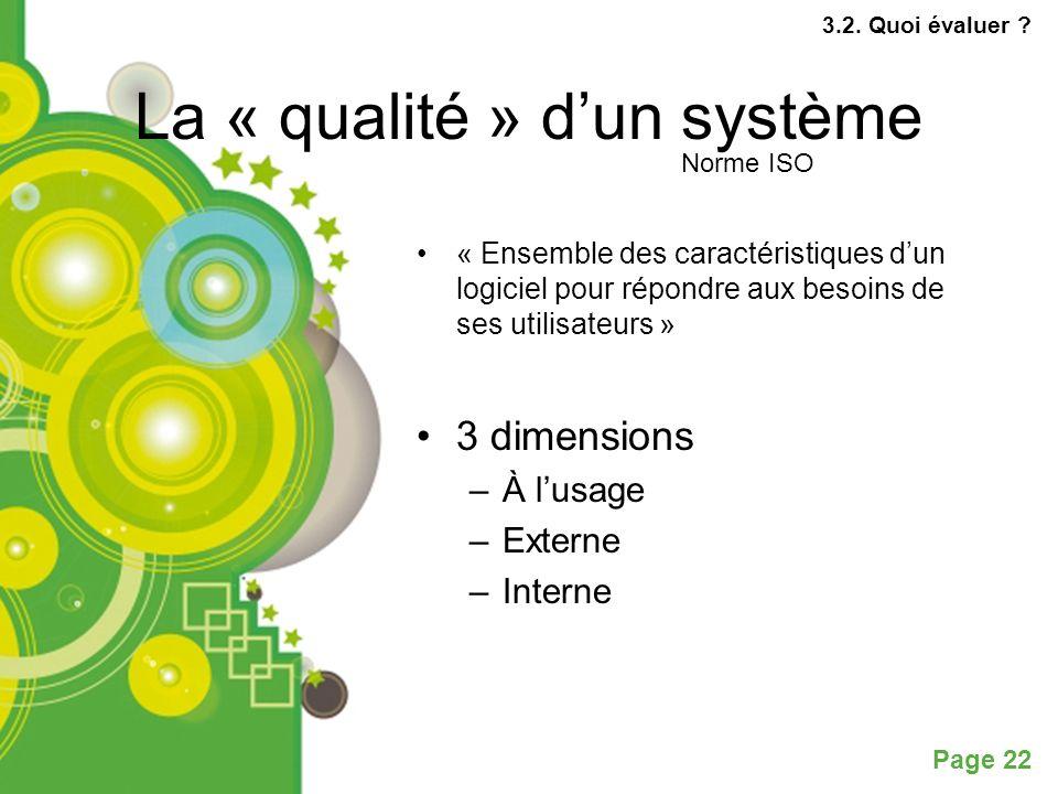 Page 22 La « qualité » dun système « Ensemble des caractéristiques dun logiciel pour répondre aux besoins de ses utilisateurs » 3 dimensions –À lusage –Externe –Interne 3.2.