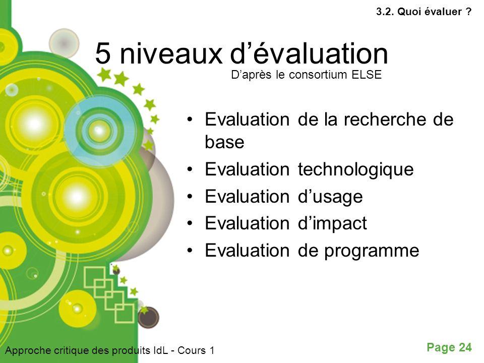 Page 24 5 niveaux dévaluation Evaluation de la recherche de base Evaluation technologique Evaluation dusage Evaluation dimpact Evaluation de programme Daprès le consortium ELSE Approche critique des produits IdL - Cours 1 3.2.