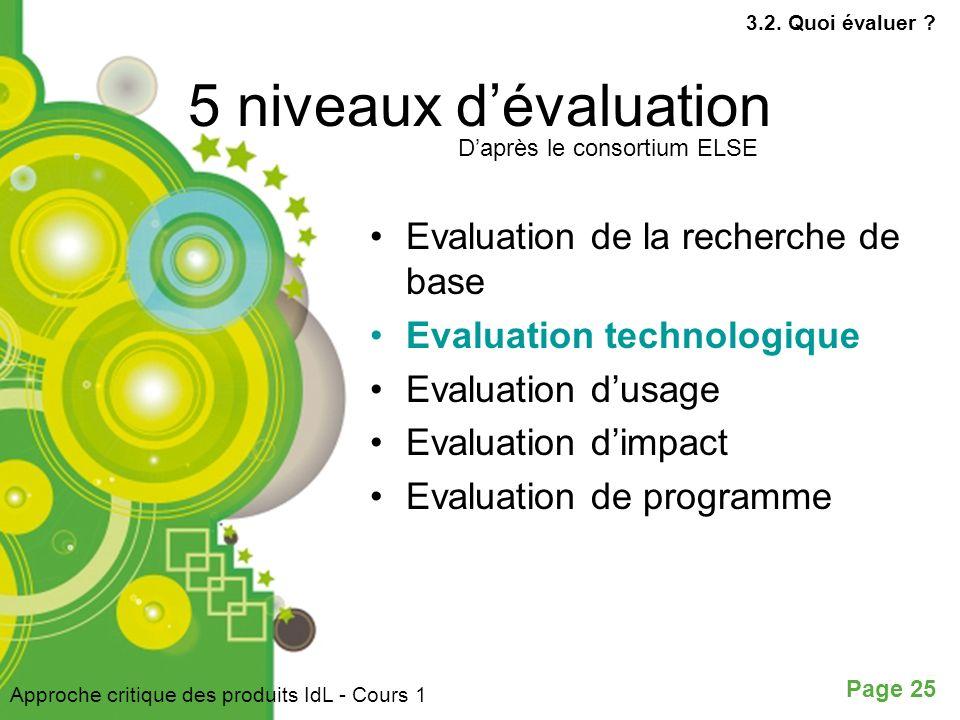 Page 25 5 niveaux dévaluation Evaluation de la recherche de base Evaluation technologique Evaluation dusage Evaluation dimpact Evaluation de programme Daprès le consortium ELSE Approche critique des produits IdL - Cours 1 3.2.