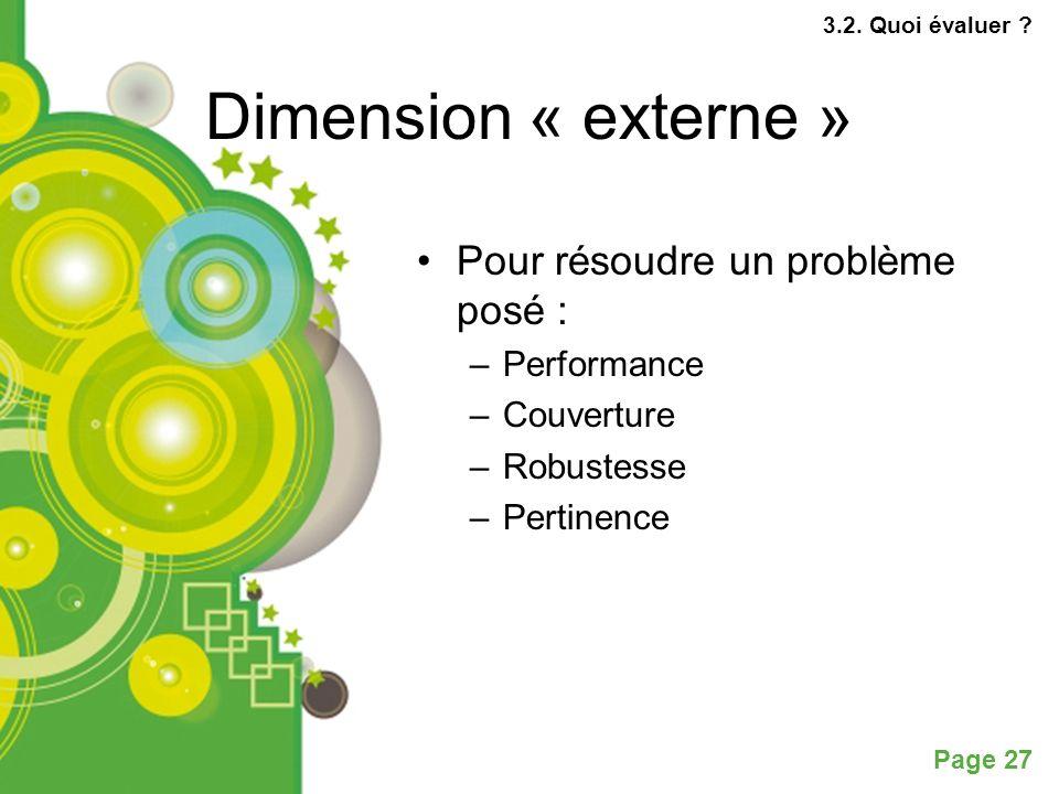 Page 27 Dimension « externe » Pour résoudre un problème posé : –Performance –Couverture –Robustesse –Pertinence 3.2.