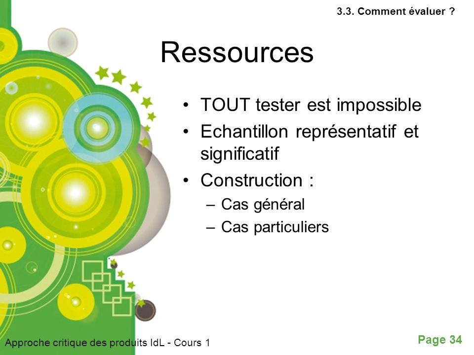 Page 34 Ressources TOUT tester est impossible Echantillon représentatif et significatif Construction : –Cas général –Cas particuliers Approche critique des produits IdL - Cours 1 3.3.