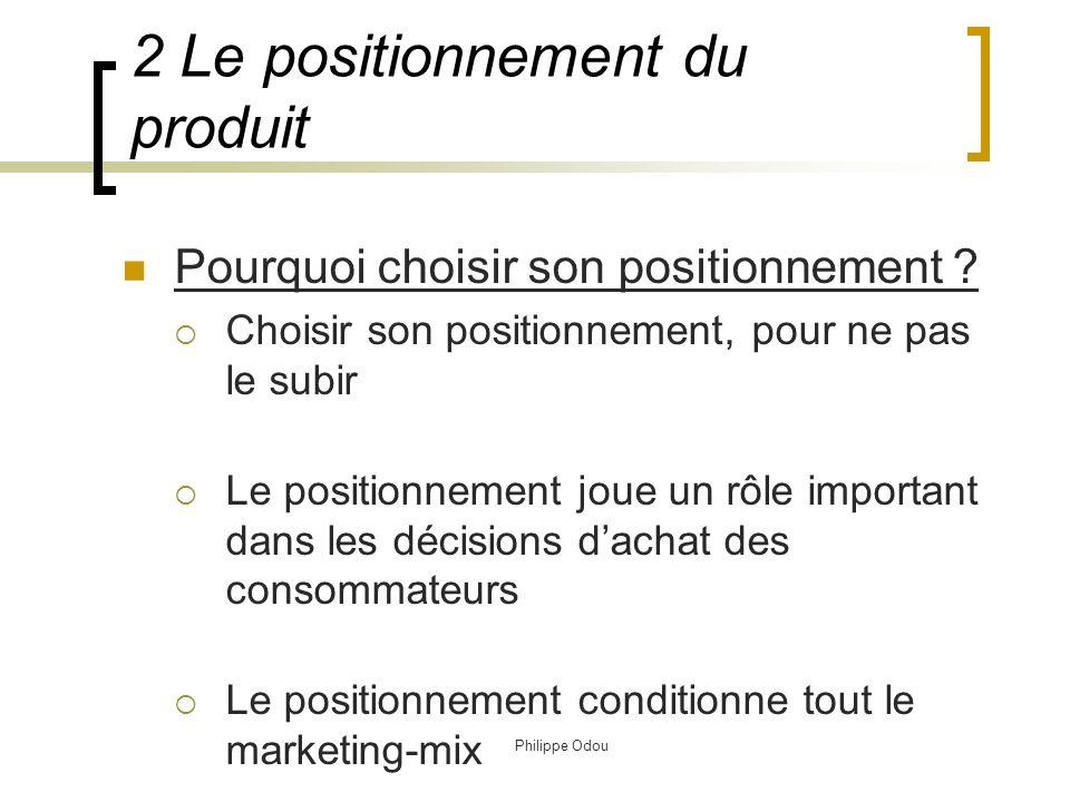 Philippe Odou 3.La stratégie produit 2 Le positionnement du produit
