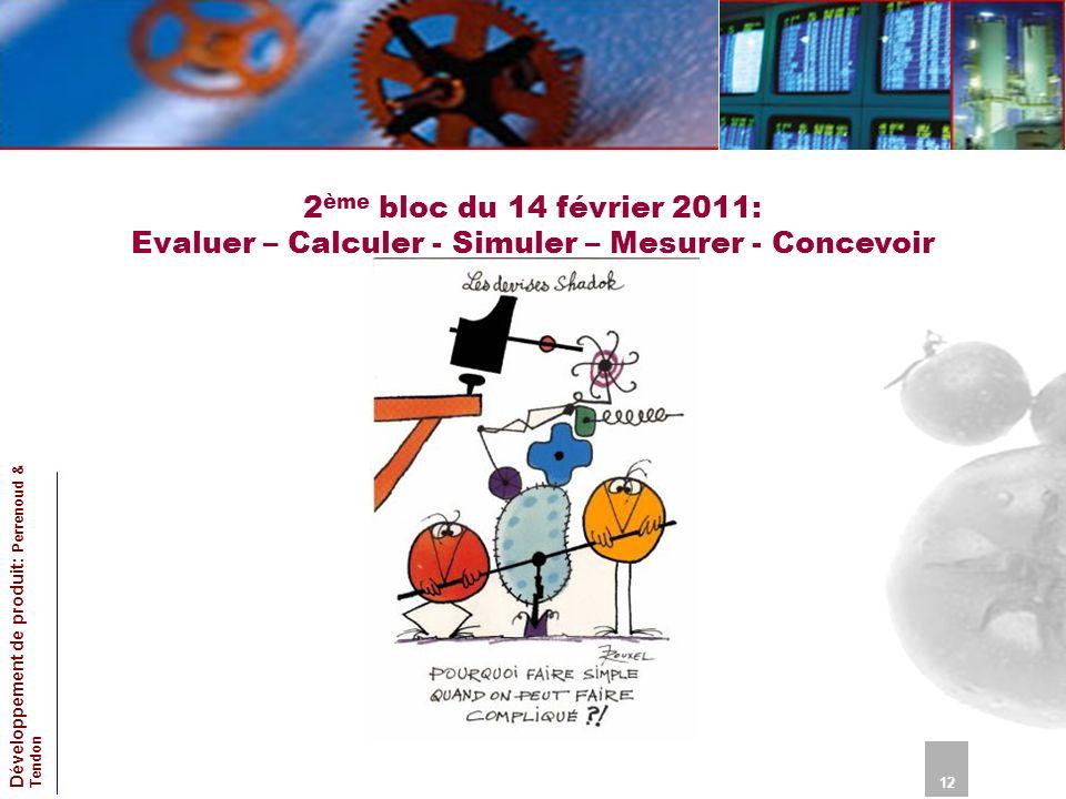 2 ème bloc du 14 février 2011: Evaluer – Calculer - Simuler – Mesurer - Concevoir 12 Développement de produit: Perrenoud & Tendon