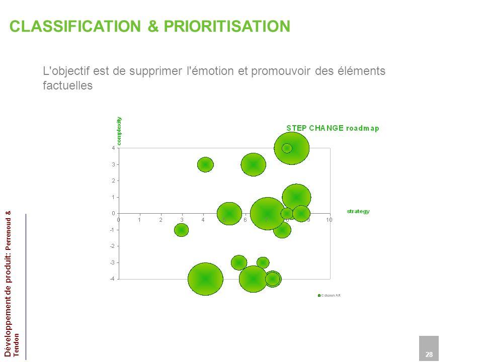 CLASSIFICATION & PRIORITISATION L objectif est de supprimer l émotion et promouvoir des éléments factuelles 28 Développement de produit: Perrenoud & Tendon