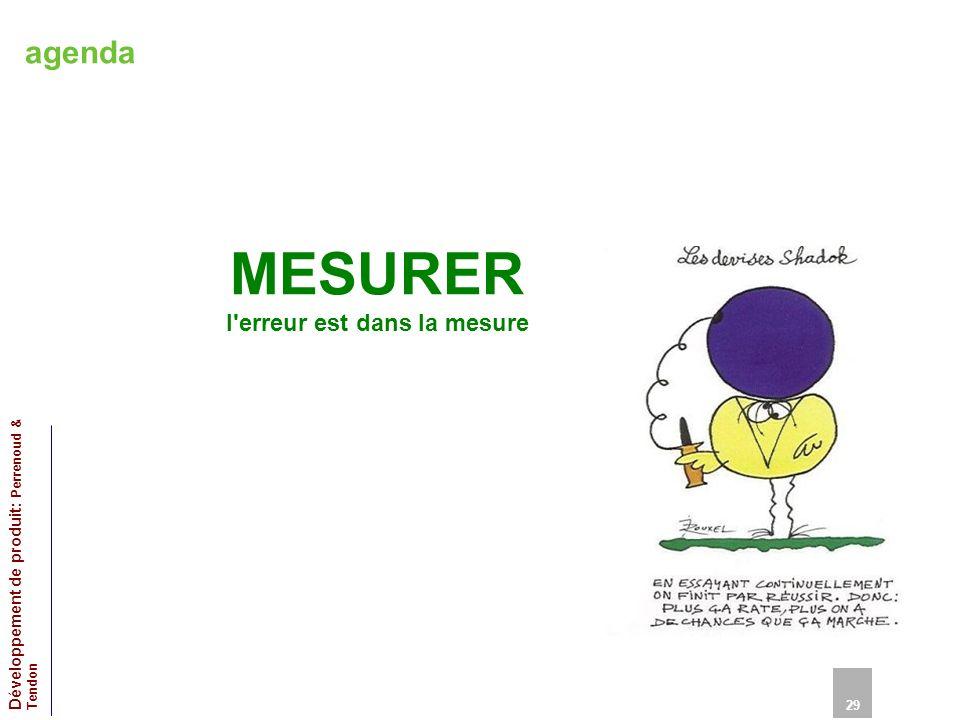 agenda MESURER l'erreur est dans la mesure 29 Développement de produit: Perrenoud & Tendon