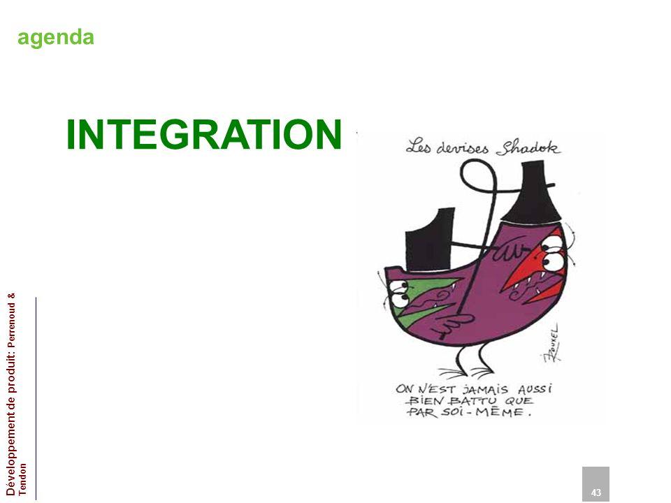 agenda INTEGRATION 43 Développement de produit: Perrenoud & Tendon