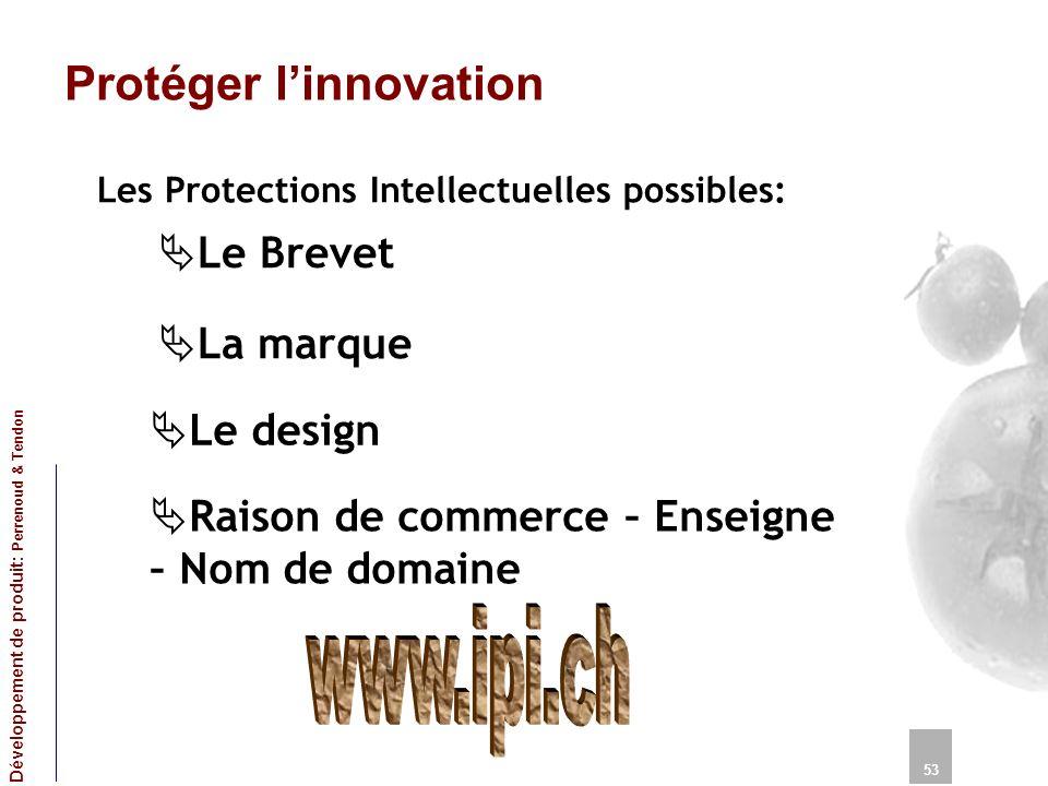 Protéger linnovation Les Protections Intellectuelles possibles: 53 Développement de produit: Perrenoud & Tendon Le Brevet La marque Le design Raison d