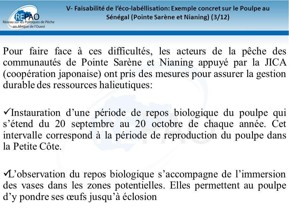 V- Faisabilité de léco-labéllisation: Exemple concret sur le Poulpe au Sénégal (Pointe Sarène et Nianing) (3/12) Pour faire face à ces difficultés, le